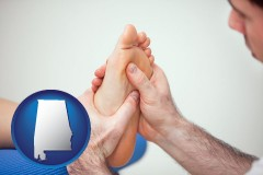 al map icon and a podiatrist practicing reflexology on a human foot