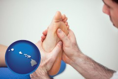 hi a podiatrist practicing reflexology on a human foot
