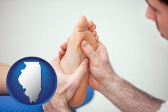 il map icon and a podiatrist practicing reflexology on a human foot
