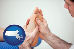 ma map icon and a podiatrist practicing reflexology on a human foot