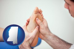 ms map icon and a podiatrist practicing reflexology on a human foot