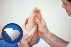 sc map icon and a podiatrist practicing reflexology on a human foot