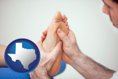 tx map icon and a podiatrist practicing reflexology on a human foot